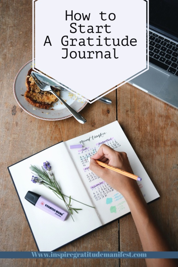 Journal, food and laptop, How to start a gratitude journal blog post