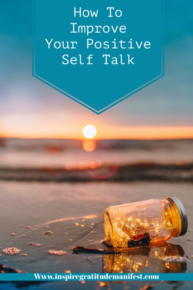 Seaside at sunset, lights in a glass jar, blog post on how to improve positive self talk