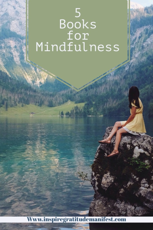 Five Books for Mindfulness - Woman on Rock By River and Mountain - Pin Image